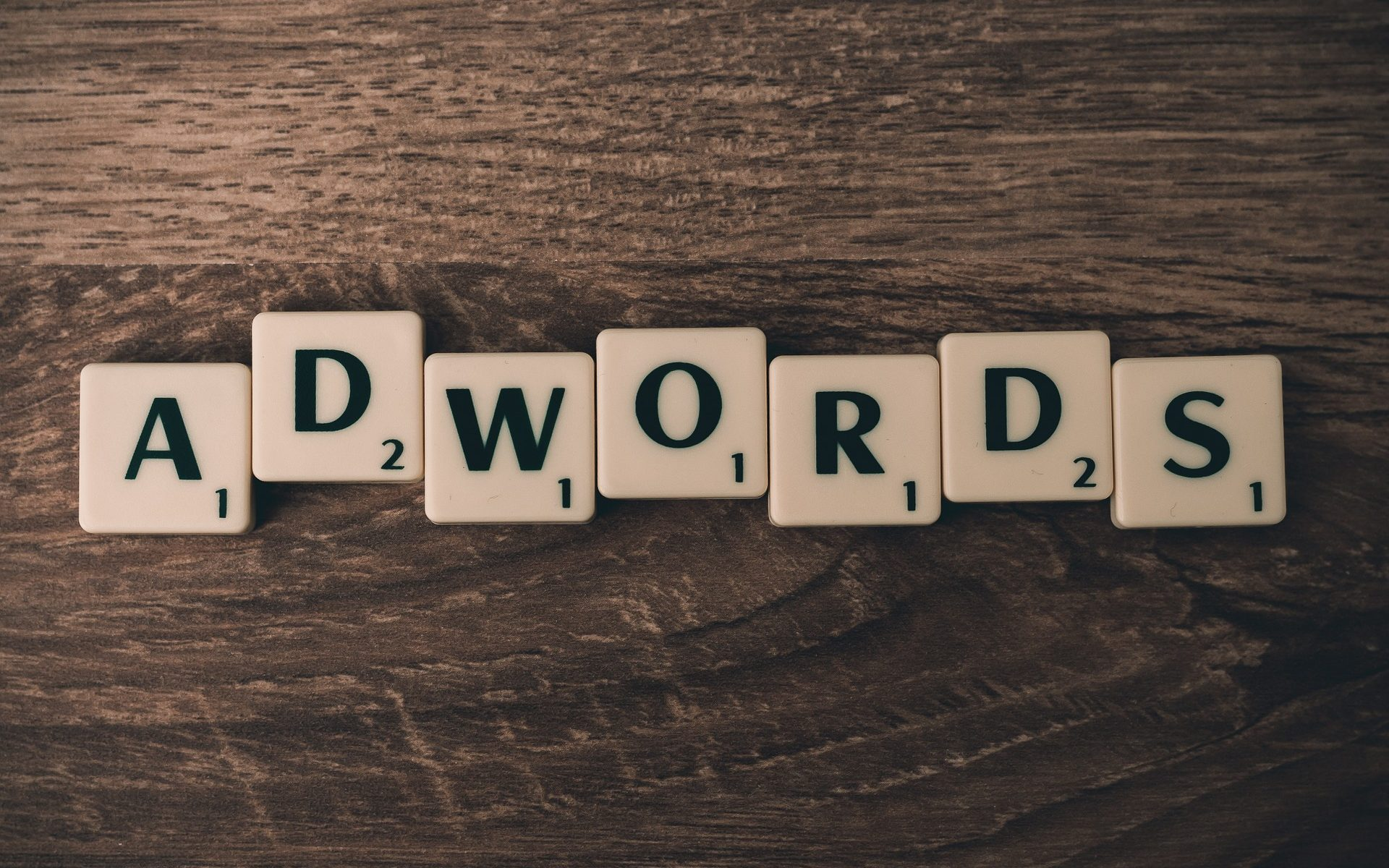 adwords letters on a table
